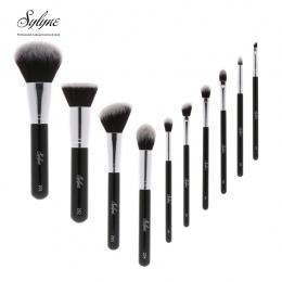 Sylyne wysokiej jakości pędzle do makijażu 10 sztuk profesjonalne makeup muśnięcie ustawia klasyczny czarny makijaż fundacja brw
