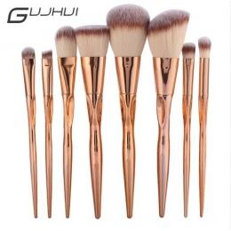 GUJHUI Pro 8 sztuk Metalowe Zestaw Do Makijażu Pędzle Kosmetyczne Twarzy Fundacja Powder Eyeshadow Blush Lip Poszycia Make Up Br