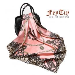 Kobiety mody Szalik Luksusowa Marka Różowy Leopard Hidżab Jedwabista Satyna Szal Szaliki Foulard Plac Szef Szaliki Chusty 2018 N