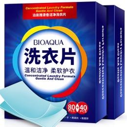 120 sztuk BIOAQUA Zapach Oczyszczanie Prania Tabletki Prania Cieczy Papiery Proszku Do Prania Mydła Zmiękczania Prania Ubrań Pie