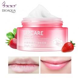 BIOAQUA Truskawki Wargi Maska Do Spania nawilżający makijaż Exfoliator Usta Balsam Nawilżający Odżywiają naturalne Wargi Plumper