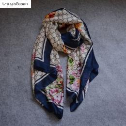 L-azyseason 2018 Mody Szalik Luksusowe Kobiety Marka Jedwabny Szalik Kobiety Szale Szal Wysokiej Jakości Druku hidżab wrap 180*9