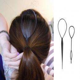 1 zestaw (2 sztuk) plastikowe Loop Włosów Styling Tools Nowy Magia Topsy Tail Hair Braid Kucyk Stylizacja Klip Bun Maker Dla Dzi