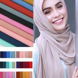 Kobiety zwykły bubble szyfon szalik hidżab wrap printe jednolity kolor szale pałąk muzułmańskie hijabs szale/szalik 47 kolory