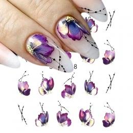 1 sztuk Paznokci Naklejki Motyl Kwiat Woda Transferu Naklejka Sliders dla Nail Art Decoration Tatuaż Okłady Narzędzia Do Manicur