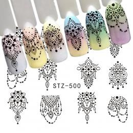 1 arkusz Czarny Naszyjnik Biżuteria Projekt Woda Transferu Naklejka Nail Art Kalkomanie DIY Moda Okłady Porady Manicure Narzędzi