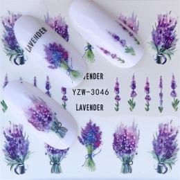 FWC Paznokci Naklejki na Paznokcie Kwitnący Kwiat Naklejki na Paznokcie Lawendy Nail Art Transferu Wody Naklejki Naklejki