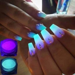 1 Box Neon Proszek Luminoforu Nail Glitter Powder 10 Kolory pył Pigmentu Świetlna Fluorescencyjne Proszek Paznokci Błyszczy Glow