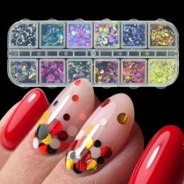 1 zestaw Mieszane Kolor 3D Ultracienkich Cekiny Paznokci Brokat Płatki 1/2/3mm Świecący DIY Porady Olśniewający błyskotka Nail A