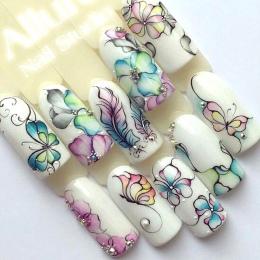 1 Arkusze Kolorowe Fioletowy Fantacy Kwiaty Naklejki Transferu Wody Paznokci Kalkomanie Manicure Tip Dekoracje Naklejki Na Pazno