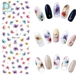 Rocooart DS255 DIY Przenieś Nails Art Naklejki Kolorowe Fioletowy Fantacy Kwiaty Paznokci Naklejki Okłady Folia Naklejka manicur