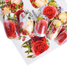 Pełne Urody 1 sztuk Nail Sticker Opcjonalnie Kwiat Kolorowe Flower Rose Valentine Wody Pełne Okłady Nail Art Kalkomanie Charms P