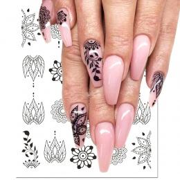 1 sztuk Czarny Kwiat Nail Sticker Kalkomanie Wodne Hollow Flory Tatuaż Skrzydła Szablony do Manicure Nail Art Decoration Suwaki