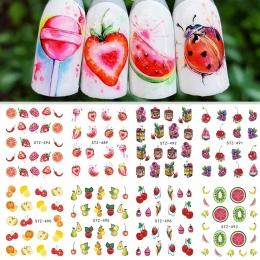 1 arkusz Transferu Wody Paznokci Naklejki Naklejki Krem Owoce Ciasto Kot Piękno Dekoracji Projekty DIY Kolor Tatuaż Wskazówka SA