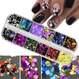 1 zestaw Ultracienkich Cekiny Nail Art Glitter Mini Błyskotka Kolorowe Okrągłe 3d Ozdoby Do Paznokci Mieszane Rozmiar Manicure A
