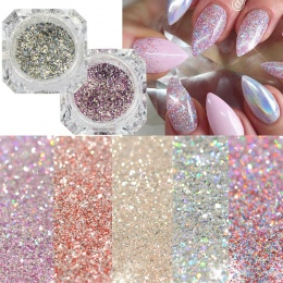1 Box Platinum Shiny Nail Glitter Powder Laser Świecący Diament Manicure Nail Art Chrome Pigment DIY Nail Art Decoration LABG01-