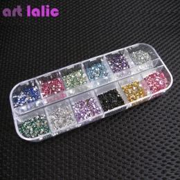 3000 sztuk 1.5mm Cyrkonie Paznokci Dekoracji Okrągłe Kolorowe Glitters Z Twardym Etui DIY Nail Art Dekoracje