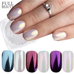 Pełne Urody 3 Pola Lustro Proszku Zestaw Nail Art Chrome Pigment Pyłu Powłoki DIY Glitter Manicure Niebieski Fioletowy Decor Por
