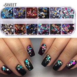 1 zestaw 1/2/3mm Mieszane Glitter Nail Cekiny Okrągłe Błyszczące Paillette Nail Art Glitter Porady UV żel 3d Wystrój Manicure Pa