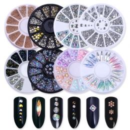 Mieszane Srebrny Okrągły Nail Art Dekoracji w Koła Cyrkonie Do Paznokci Akryl Żel UV dla Shinning Body Art Paznokci Akcesoria