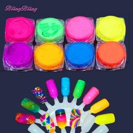 8 Pudełka Ombre Paznokci Brokat Gradientu Neon Pigment Nail Pyłu Proszku Brokat Opalizujący Akryl Kolorowe Nail Art Decoration
