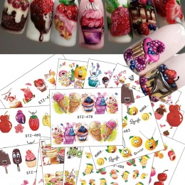 18 sztuk 2018 Gorące Ciasto/Lody Nail Sticker Tatuaże Mieszane Kolorowe Wzory Kobiety Makijaż Wody Nail Art Naklejki CHSTZ471-48