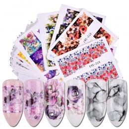 40 sztuk Nail Sticker Kalkomanie Wodne Kwiaty Watermark Tusz Suwak Żel do Paznokci Sztuki Dekoracji Paznokci Manicure Akcesoria