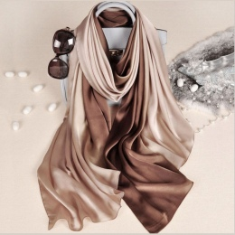Nowy Projekt Luksusowe Marka Solidna silk Lato Szalik Gradientu Dip dye Kobiety Muslim Hidżab Szal Długi Miękka Wrap