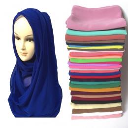 Wysoka Jakość Pearl Bańka Szyfonowa Muzułmaninem Hidżab Chustki na szyję Szalik Szal Okład Głowy Zwykły Jednolity Kolor