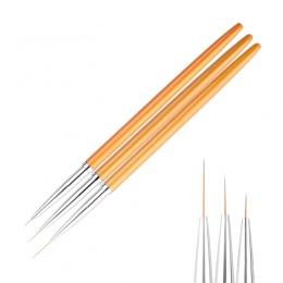 3 Sztuk/zestaw Złoty Nail Art Linie Malarstwo Pen Brush Profesjonalny Wysokiej jakości Żel UV Polski Porady 3D Design Manicure R