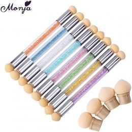 Monja Podwójne Koniec Nail Art Żel Polski Kolor Gradientu Szczotka + 6 Głowy Gąbki Transferu Tłoczenia Blooming Pen Manicure Nar