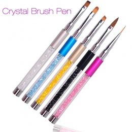 Nail Art Brush Pen Rhinestone Diament Metal Uchwyt Akrylowy Rzeźba Malowanie Proszkowe Gel Brush Cieczy Salon Liner Brush Nail N