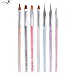 Monja 7 Style Rhinestone Akryl Uchwyt Szczotki Nail Art Linia Kwiat Powłoka Malowanie Kształtowanie Płaskim Fanem Kąt Pen