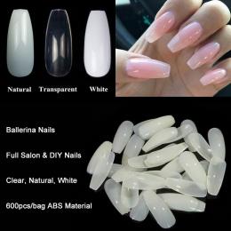 600 sztuk/worek Baleriny Nail Art Porady Przezroczysty/Naturalne Fałszywe Nails Art Porady Płaski Kształt Trumny Plandeka Manicu