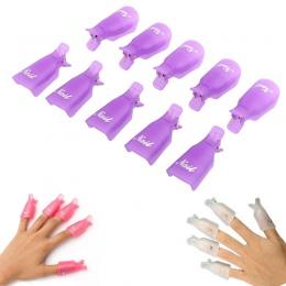 GUJHUI 10 sztuk Plastikowe Nail Art Soak Off Cap Klip Żel UV Polski Remover Wrap Narzędzia Nail Art Porady dla palce Fioletowy W