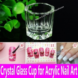 1 sztuka Płynne Szkło Akrylowe Akryl Kryształ Dappen Dish szklany Kubek do Zdobienia paznokci Akrylowych Clear White Kolor Przez