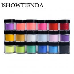 ISHOWTIENDA 18 Kolory Akryl Żel UV Powder Pył Projekt Dekoracje nail art glitter luminoforem świecenia malowanie proszkowe