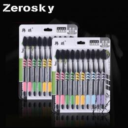 ZEROSKY 10 Sztuk/paczka Pokój Ultra Miękkie Bambusa Węgiel Nano Szczoteczka Czarny Zębów Szczotka Szczotka Do Zębów Dental Higie