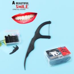 50 sztuk Bambusa Węgiel Nici Dentystyczne Zęby Kije Zębów Picks Interdental Brush Zęby Czyste Nić Dentystyczna Trzymać Wykałaczk