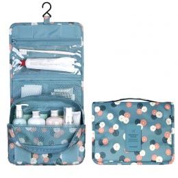 Wiszące Podróży Kosmetyczka Kobiety Zipper Make Up Bag Poliester Wysokiej Pojemność Makeup Case torebka Organizator Przechowywan