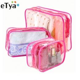 ETya Podróży Jasne PCV Torby Kosmetycznych Kobiety Mężczyźni Transparentny Zamek Torby Makijażu Organizator Beauty Make Up Kąpie