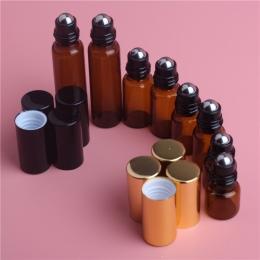 5 sztuk 1 ml 2 ml 3 ml 5 ml Amber Roll Na Roller Butelka dla Olejków Eterycznych Wkładem Perfumy butelka Dezodorant Pojemniki z