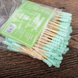 HHOT 100 sztuk/zestaw Mikro Szczotki Drewniane Podwójne Tip Remover Cotton Wymazy F Dzieci Jednorazowe Aplikator Wymaz Extension