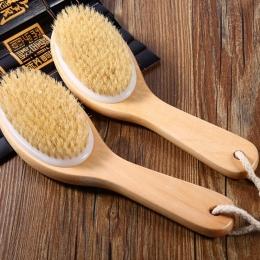 Masażu Bath Shower Powrót Spa Scrubber Szczotka Ciała Naturalnego Włosia Pędzle Skóra Sucha Złuszczanie Drewniane Szczotki