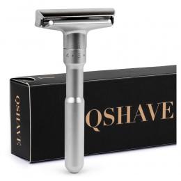 QSHAVE Regulowany Bezpieczeństwo Razor Krawędzi Dwukrotnie Klasyczne Męskie Golenia Łagodne do Agresywnych 1-6 Pliku Włosów Usuw