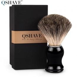 Qshave Człowiek Czysta Sierść borsuka Pędzel Do Golenia 100% Oryginalny dla Razor Krawędzi Bezpieczeństwa Proste Klasyczne Bezpi