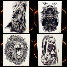 Afryka Serengeti Lion Indian Tribal Wojownik Lion Mighty Wodoodporna Flash Tatuaż Tymczasowy Tatuaż Naklejki Czarny Tatuaż Mężcz