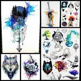 Czarny Diament Geometria Sowa Tymczasowa Naklejka Tatuaż Kobiety Fałszywe Henna Wodoodporna Tatuaż Naklejki 21*15 cm Kryształ Bo
