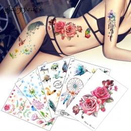 Kwiat Ptak Naklejka 1 pc Kobiety Mężczyźni DIY Henna Fałszywy Body Art Tymczasowy Tatuaż Tatuaż Projekt HB556 Motyl Żywe Gałęzi