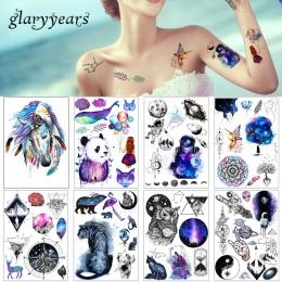 1 Arkusz Uroda Naklejka Wodoodporna Tatuaż Naklejki Śliczne Kolorowe Konia Zwierząt Wzór Kobiety Dziewczyna Tymczasowe Tattoo Bo